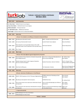 Program  - TurkLab EuroLab 2015 Konferans