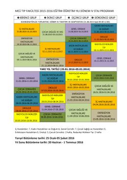 MEÜ TIP FAKÜLTESİ 2015-2016 EĞİTİM