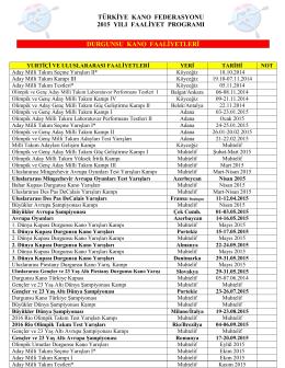 2015 faaliyet proğramı - Türkiye Kano Federasyonu