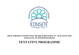 tentatıve programme - The International Conference On Science