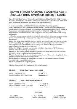 2015 Denetleme Raporu - NİLÜFER - Işıktepe Rüveyde Dörtçelik