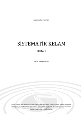 SİSTEMATİK KELAM - Sakarya Üniversitesi
