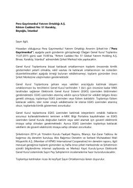 Genel Kurul Toplantı Daveti - PERA Gayrimenkul Yatırım Ortaklığı A.Ş