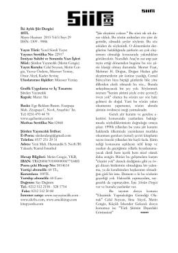İki Aylık Şiir Dergisi 10TL Mayıs-Haziran 2015 Yıl:5/Sayı