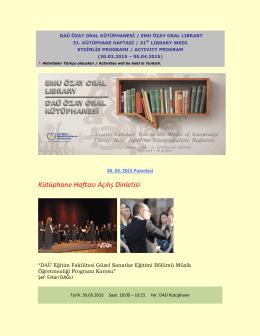 Kütüphane Haftası Açılış Dinletisi