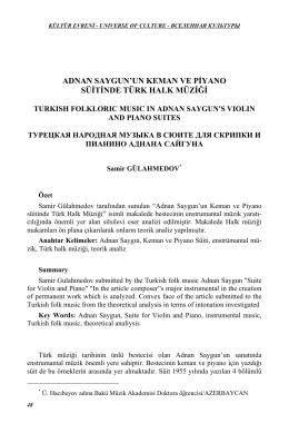 adnan saygun`un keman ve piyano süitinde türk halk müziği