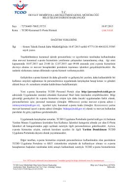 72736405-700/E.55733 10.07.2015 Konu : TCDD Kurumsal E