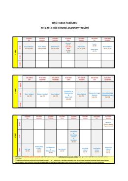 uaü hukuk fakültesi 2015-2016 güz dönemi arasınav takvimi