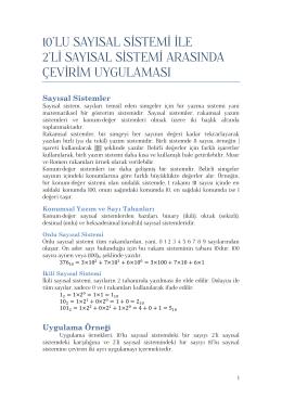 10`lu - 2`li Sayısal Sistemleri Arasında Çevirim Uygulaması