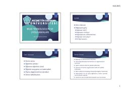 1. Hafta - Bilgi Teknolojileri ve Uygulamaları