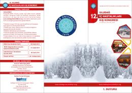 1. Duyuru - 12. Uludağ İç Hastalıkları Kış Kongresi