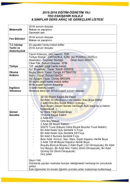 2015-2016 eğitim-öğretim yılı ted eskişehir koleji 8.sınıflar ders araç