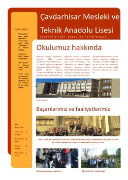 Okul Tanıtım Broşürü - Çavdarhisar Mesleki ve Teknik Anadolu Lisesi