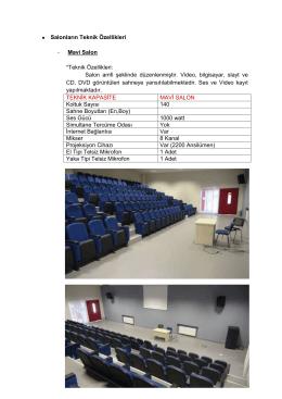 Salonların Teknik Özellikleri - Mavi Salon *Teknik Özellikleri: Salon