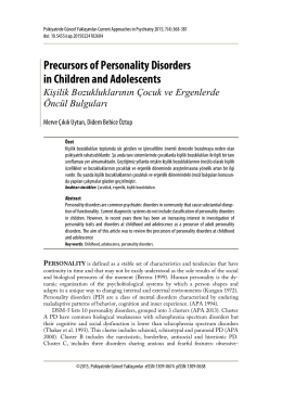 Precursors of Personality Disorders in Children and