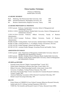 Sandikci CV EN - İstanbul Şehir Üniversitesi İşletme Bölümü