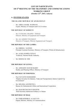 LIST OF PARTICIPANTS OF 6 MEETING OF THE TRANSPORT