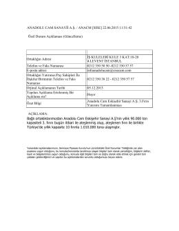 ANADOLU CAM SANAYİİ A.Ş. / ANACM [SISE] 22.06.2015 11:51:42