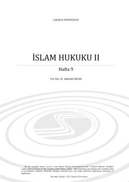 İslam Hukuku II - Sakarya Üniversitesi