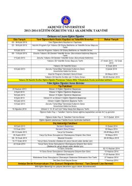 2013-2014 Eğitim Öğretim Yılı Akademik Takvimi