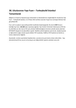 38. Uluslararası Yapı Fuarı – Turkeybuild İstanbul Tamamlandı