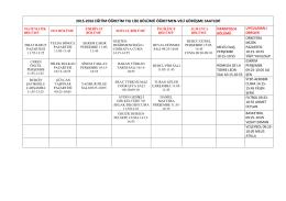 2015-2016 eğitim öğretim yılı lise bölümü öğretmen