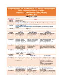 Scientific Program and Schedule of the 28 International Conference