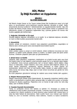 ADL Motor İş Etiği Kuralları ve Uygulama