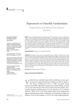 Hiperostozis ve Omurilik Yaralanmaları