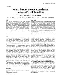 Primer İmmün Yetmezliklerle İlişkili Lenfoproliferatif Hastalıklar