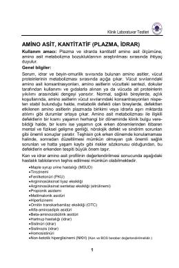 AMİNO ASİT, KANTİTATİF (PLAZMA, İDRAR)