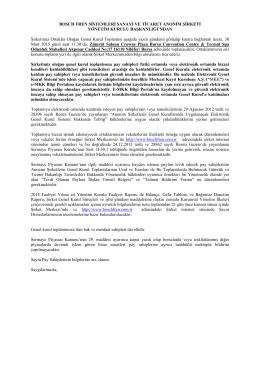 2014 Yılı Olağan Genel Kurul Çağrısı