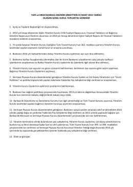 YAPI ve KREDİ BANKASI ANONİM ŞİRKETİ`NİN 25 MART 2015