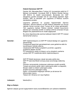 Kidemli Danisman SAP PP Daimler AG, Mercedes-Benz
