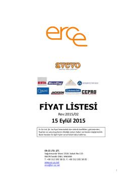 erce fiyat listesi 15/09/2015