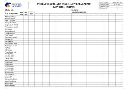 pediatri acil arabası ilaç ve malzeme kontrol formu