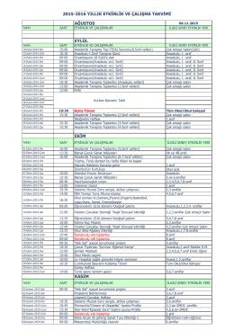 ağustos eylül ekim kasım 2015-2016 yıllık etkinlik ve çalışma takvimi