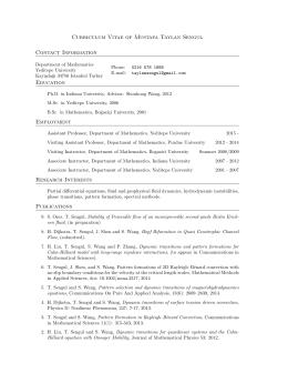 Curriculum Vitae of Mustafa Taylan Sengul Contact Information