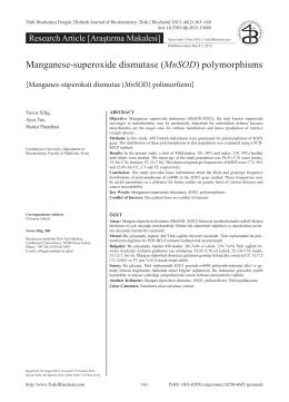 Manganese-superoxide dismutase (MnSOD) polymorphisms
