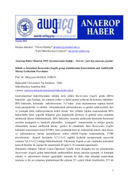 Anaerop Haber Haziran 2015 - Türk Mikrobiyoloji Cemiyeti