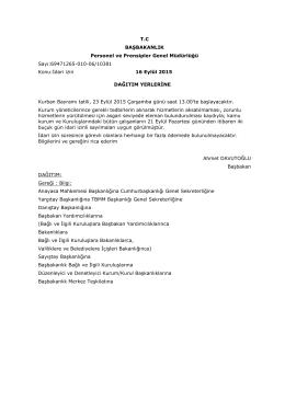 T.C BAŞBAKANLIK Personel ve Prensipler Genel Müdürlüğü Sayı