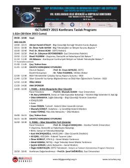 ISCTURKEY 2015 Konferans Taslak Programı