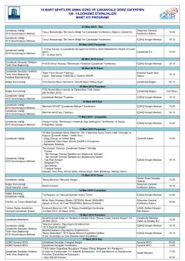 18 mart 2015 programı - Çanakkale İl Kültür ve Turizm Müdürlüğü