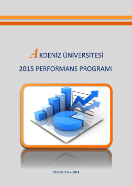 2015 Yılı Performans Programı - Strateji Geliştirme Daire Başkanlığı