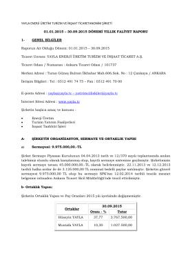 Faaliyet Raporu 30/09/2015