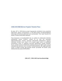 CENG 407/408 Bitirme Projeleri Yönetim Planı