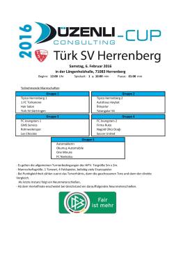 3.Düzenli Consulting Cup 2016 Turnierplan