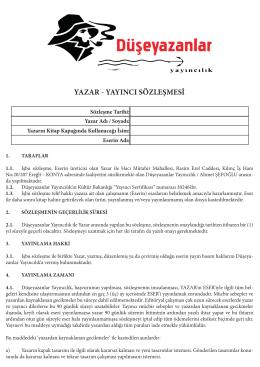 yazar - yayıncı sözleşmesi