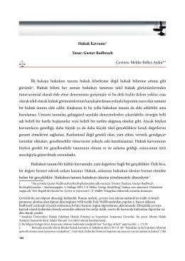 Hukuk Kavramı* Yazar: Gustav Radbruch Çeviren: Melike Belkıs