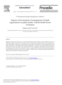 Impacts of Privatization of Management of Health